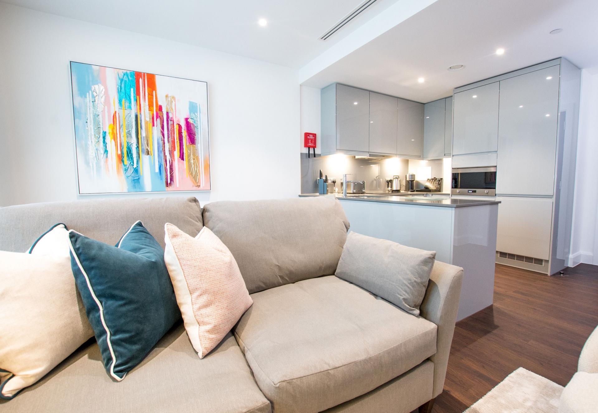 Sofa at Canary Wharf Apartments By Charles Hope, Canary Wharf, London - Citybase Apartments