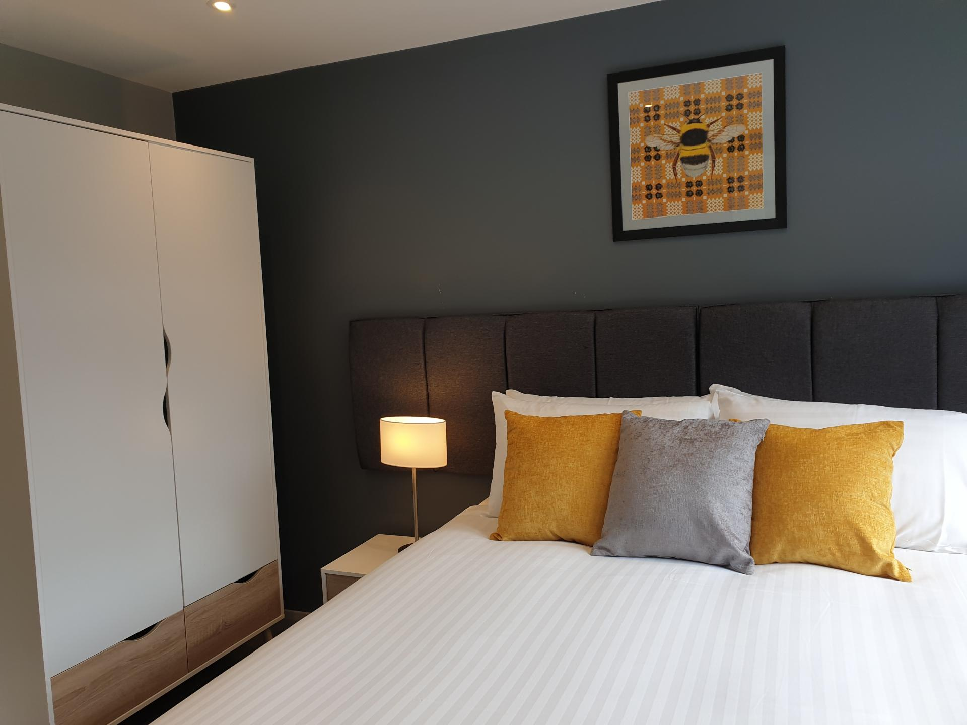 Cosy bed at The Spires Cardiff, Centre, Cardiff - Citybase Apartments