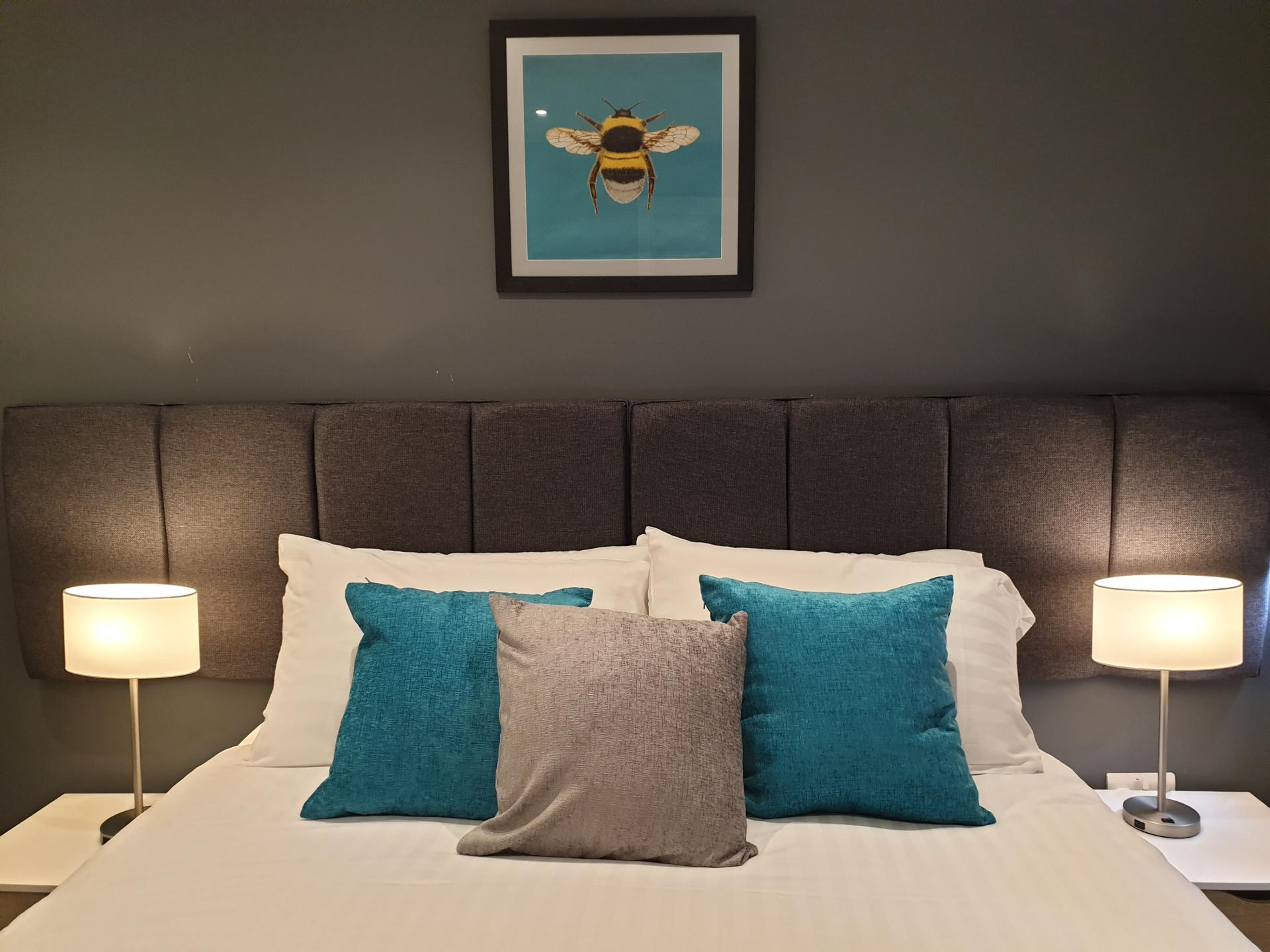 Light bedroom at The Spires Cardiff, Centre, Cardiff - Citybase Apartments