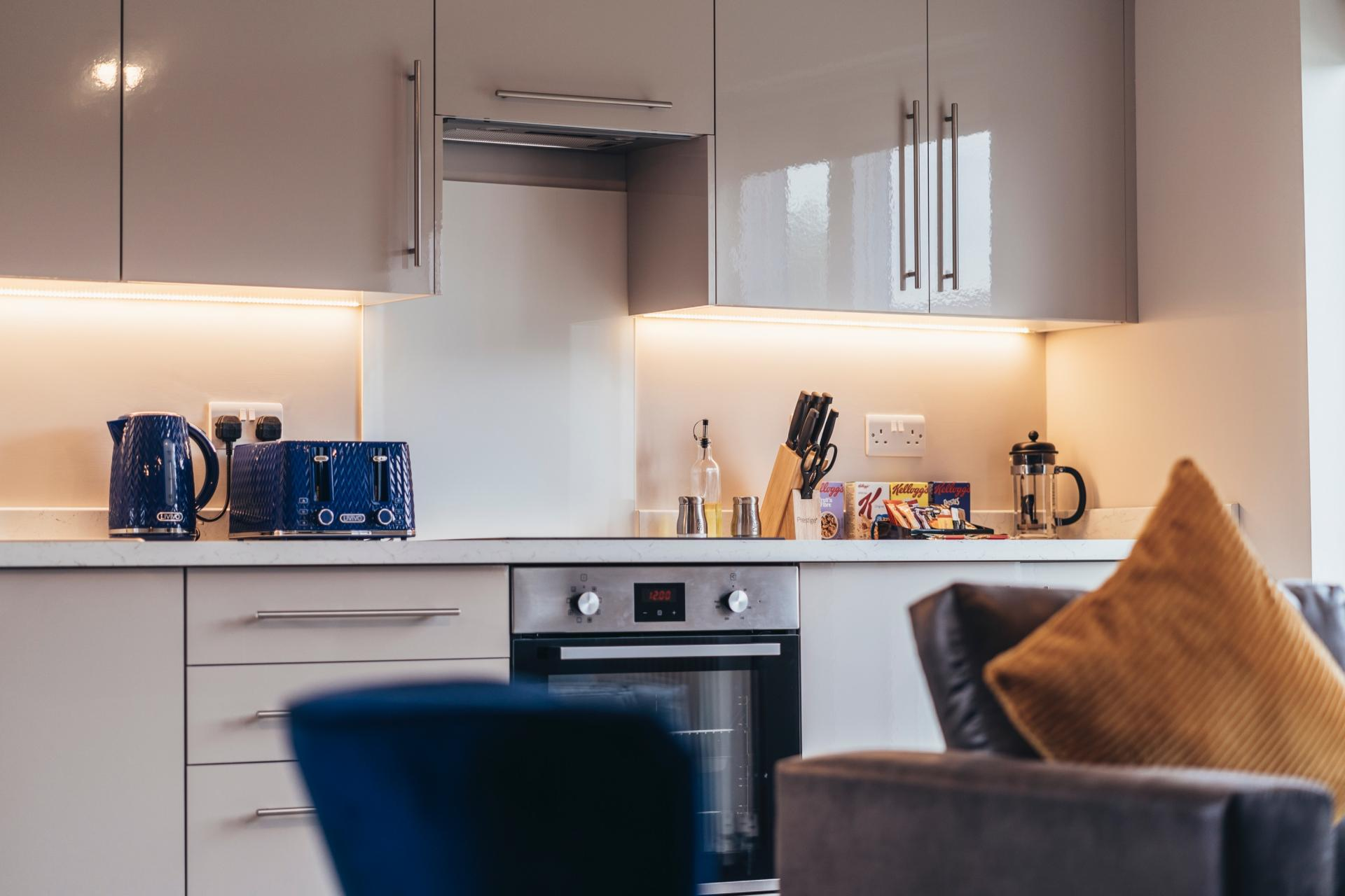 Equipped kitchen at Devonshire Court Apartments, West Bridgford, Nottingham - Citybase Apartments