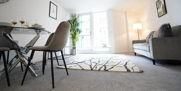 Living room at Dream Apartments Manchester, Salford, Manchester - Citybase Apartments