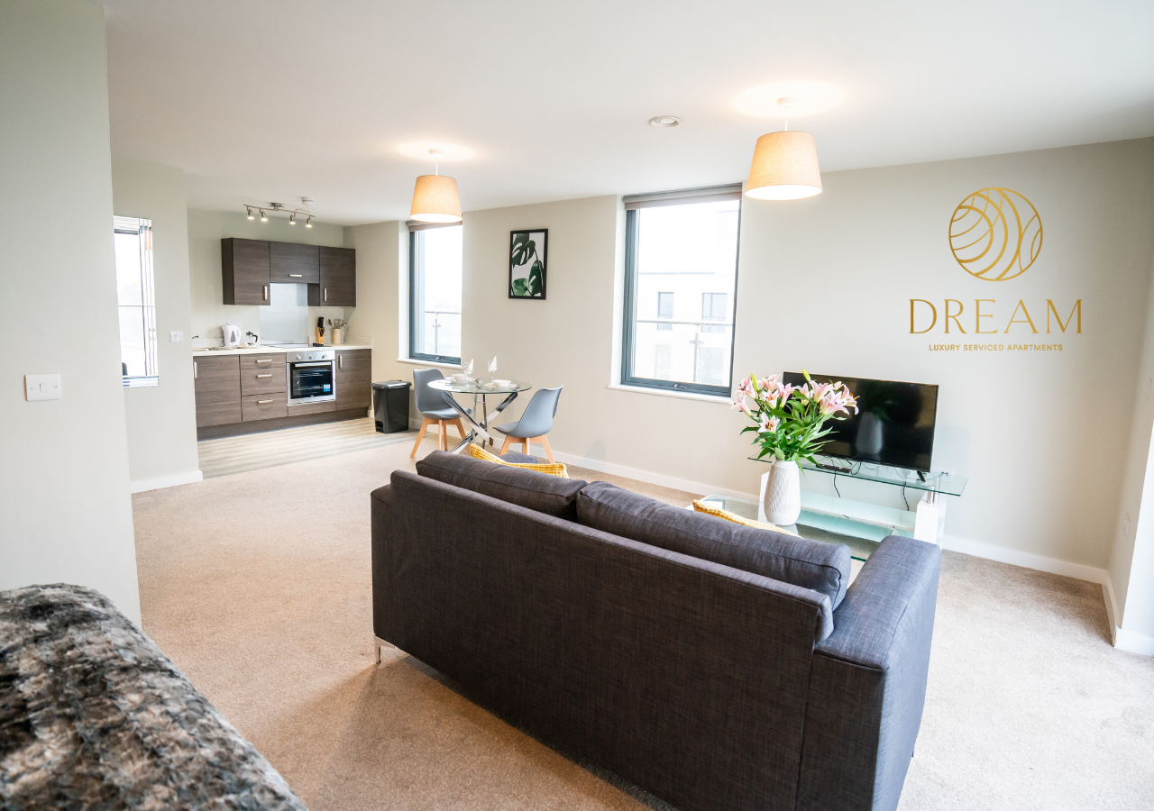 Living area at Dream Apartments Manchester - Citybase Apartments