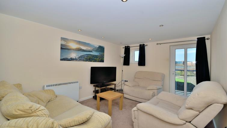 Cosy living area at at Chester Racecourse Apartments - Citybase Apartments