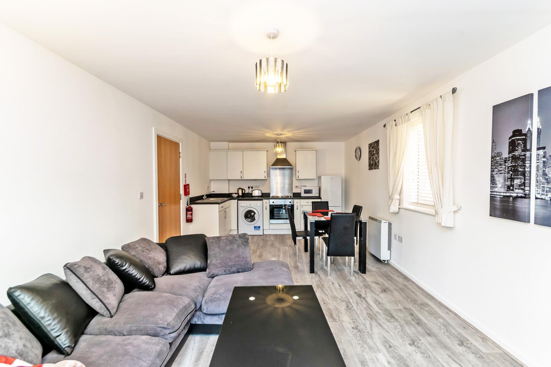 Open-plan living area at Chester Racecourse Apartments - Citybase Apartments