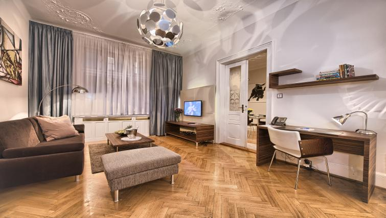 Living area at Residence Brehova Apartments - Citybase Apartments