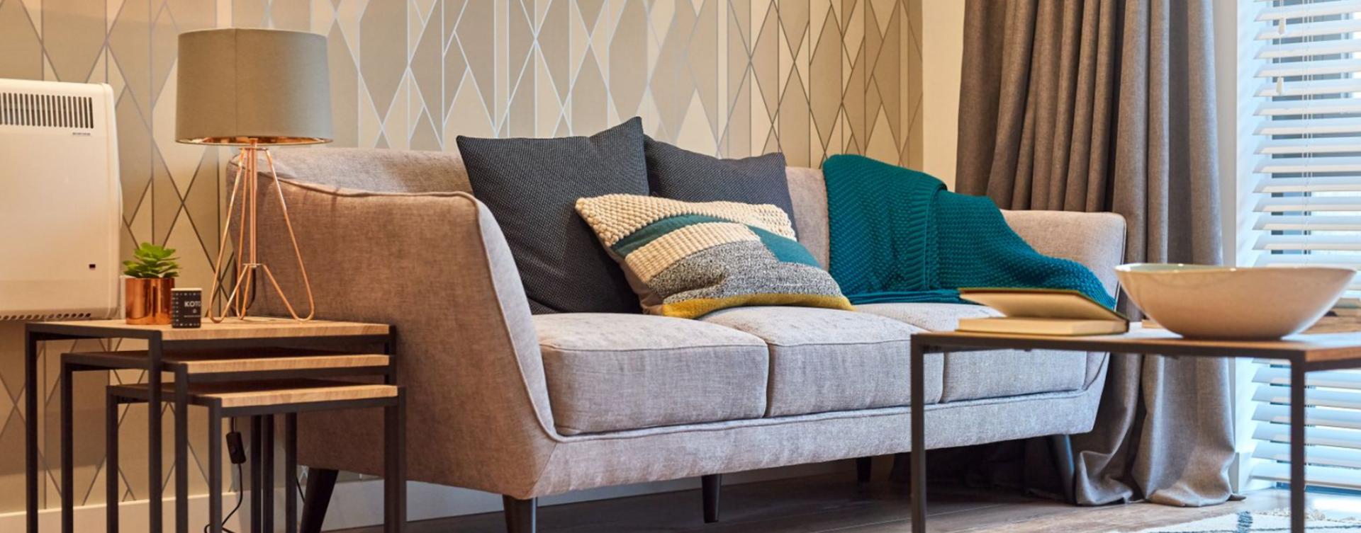Sofa at Charles Hope Birmingham Central Apartments, Westside, Birmingham - Citybase Apartments