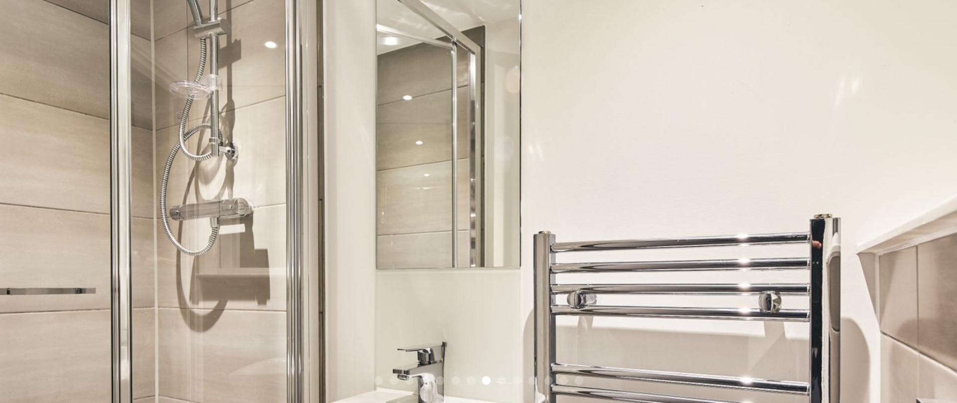 Shower at Charles Hope Birmingham Central Apartments, Westside, Birmingham - Citybase Apartments