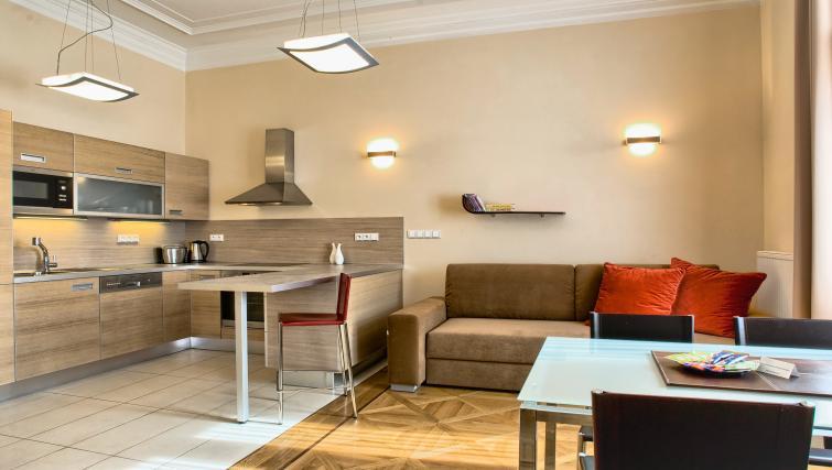 Open plan kitchen at Residence Karolina Apartments - Citybase Apartments
