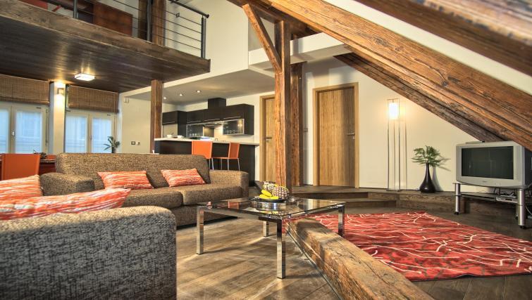 Stylish living area at Residence Rybna Apartments - Citybase Apartments