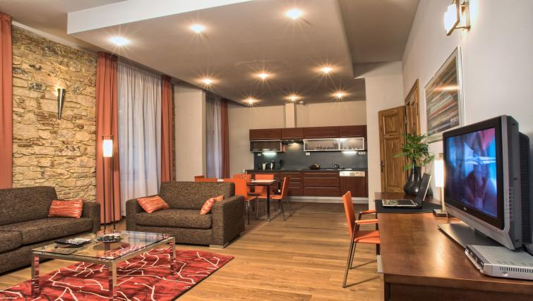 Open plan living area at Residence Rybna Apartments - Citybase Apartments