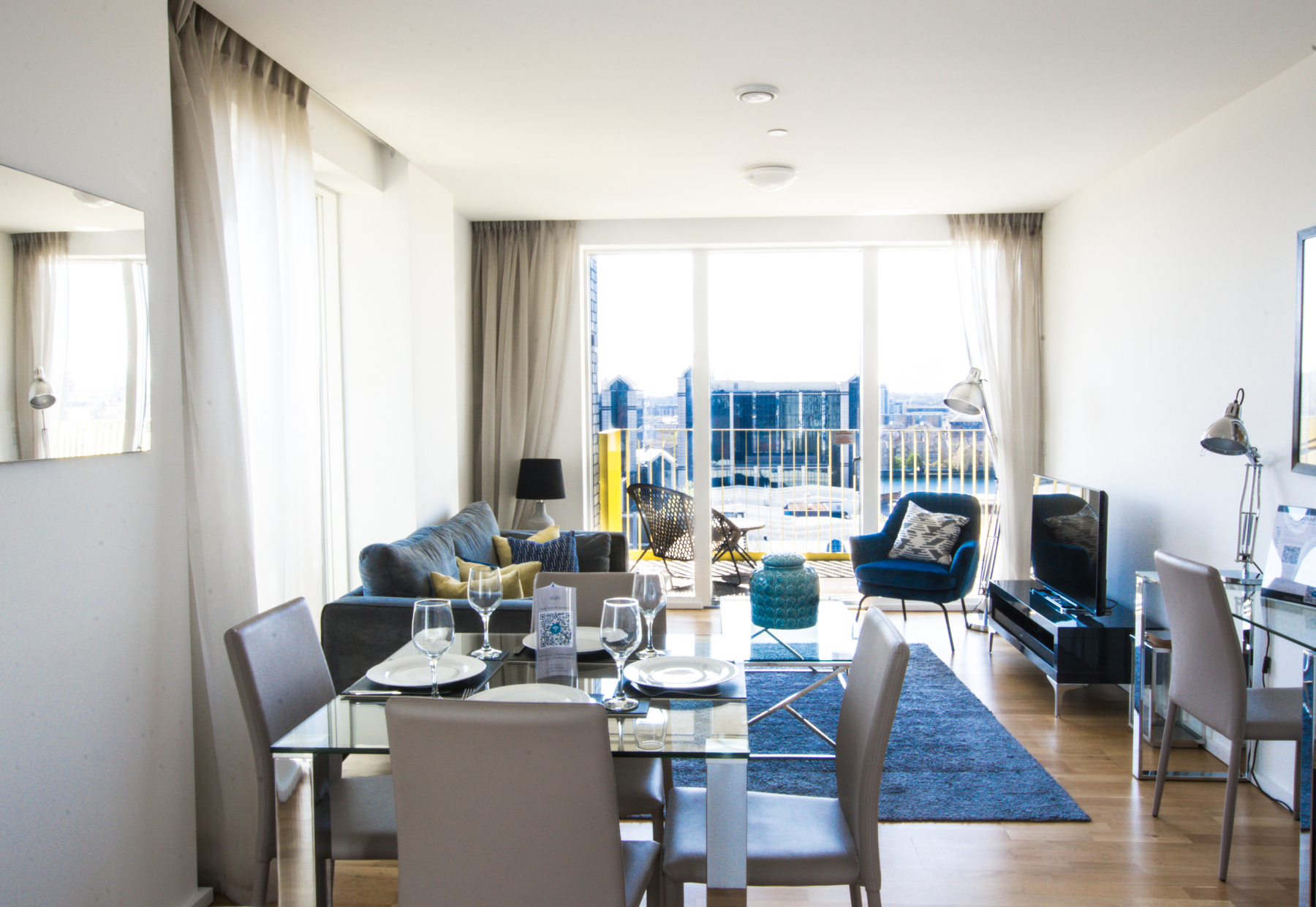 Living room at Millharbour Apartments, Isle of Dogs, London - Citybase Apartments