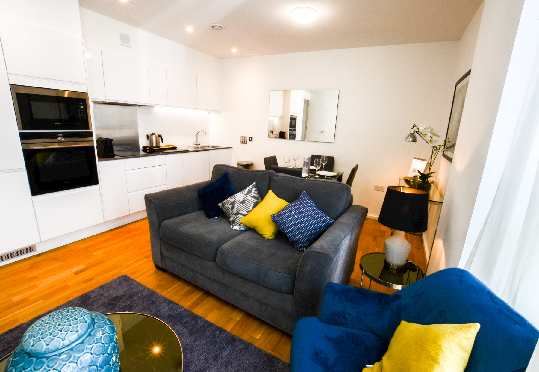Living area at Millharbour Apartments, Isle of Dogs, London - Citybase Apartments