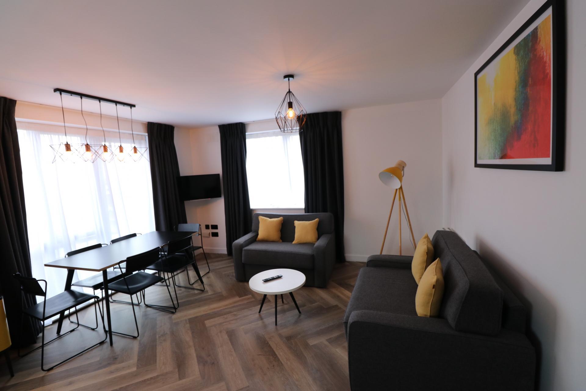 Living area at Staycity Dublin Christchurch, Centre, Dublin - Citybase Apartments