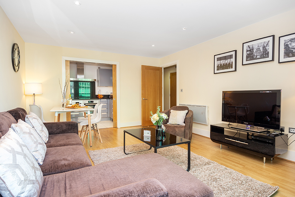 Living room at St George's Wharf Serviced Apartments - Citybase Apartments