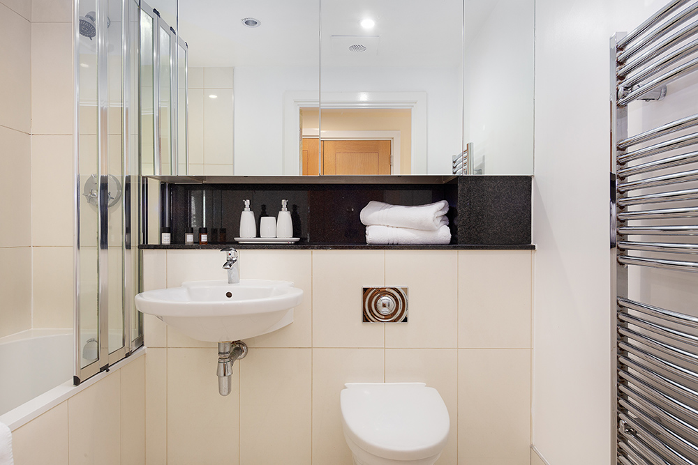 Bathroom at St George's Wharf Serviced Apartments - Citybase Apartments