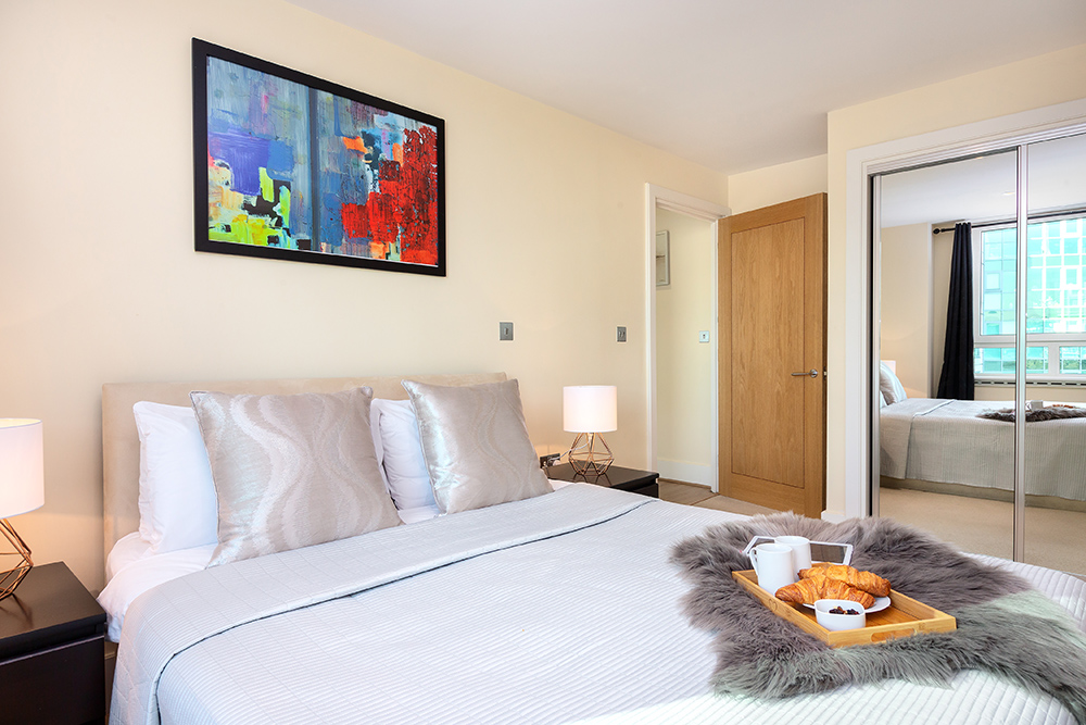 Modern bedroom at St George's Wharf Serviced Apartments - Citybase Apartments