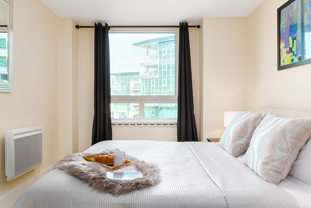 Bright bedroom at St George's Wharf Serviced Apartments - Citybase Apartments