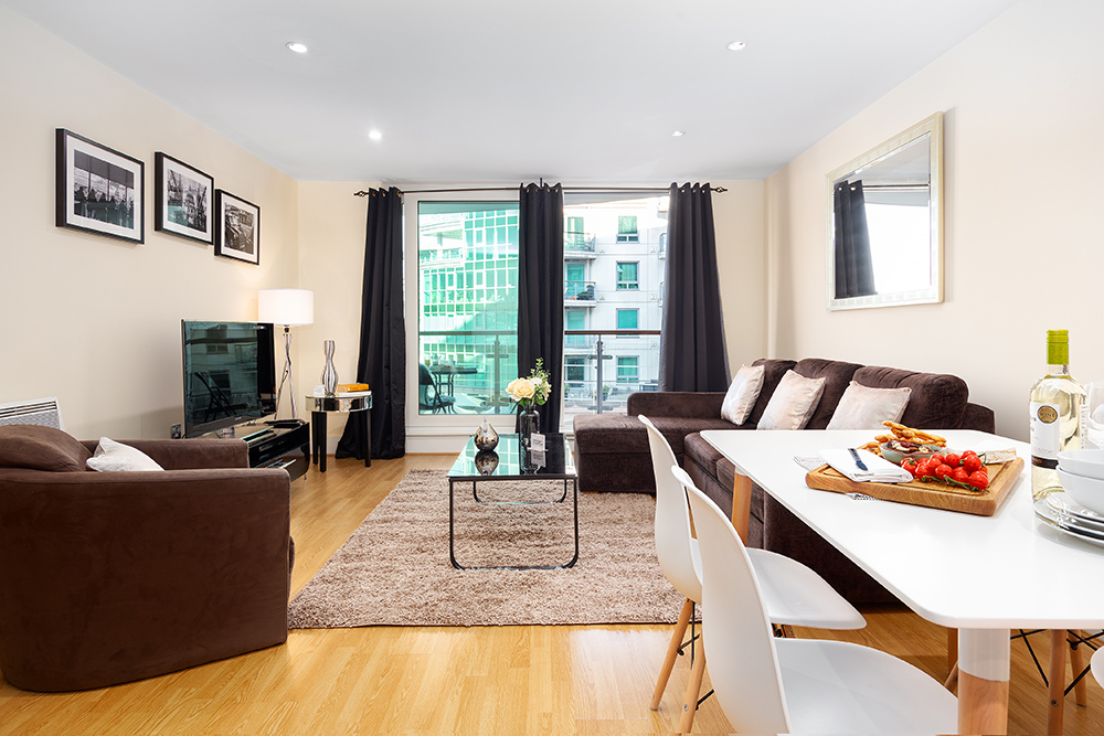 Stylish living room at St George's Wharf Serviced Apartments - Citybase Apartments