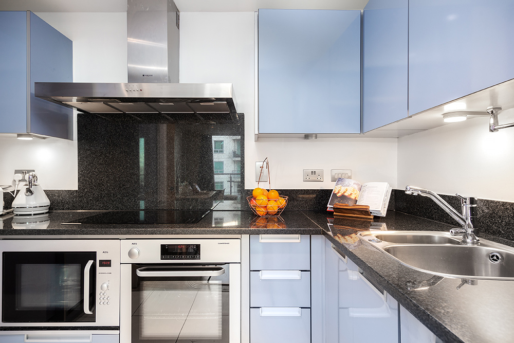 Kitchen area at St George's Wharf Serviced Apartments - Citybase Apartments