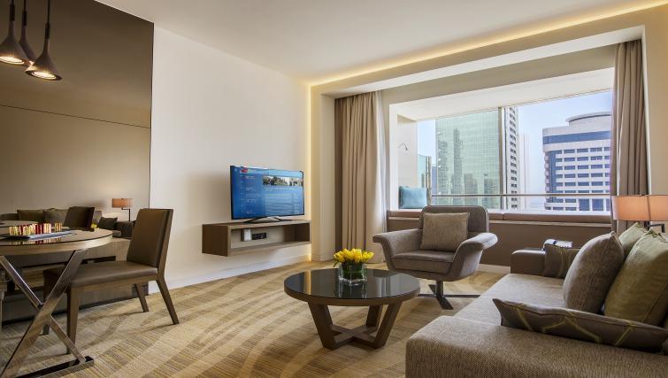 Living area at Towers Rotana Apartments - Citybase Apartments