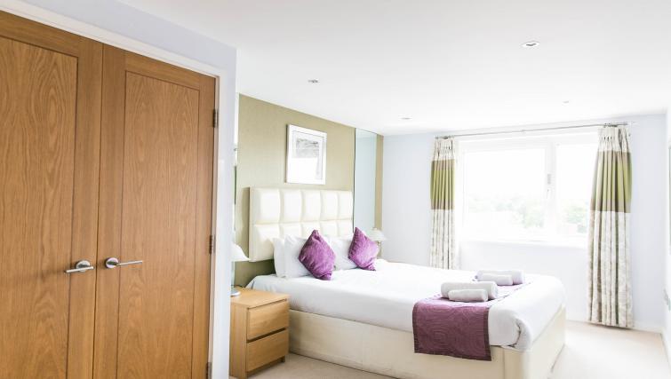 Stylish bedroom at The Atrium Apartments - Citybase Apartments
