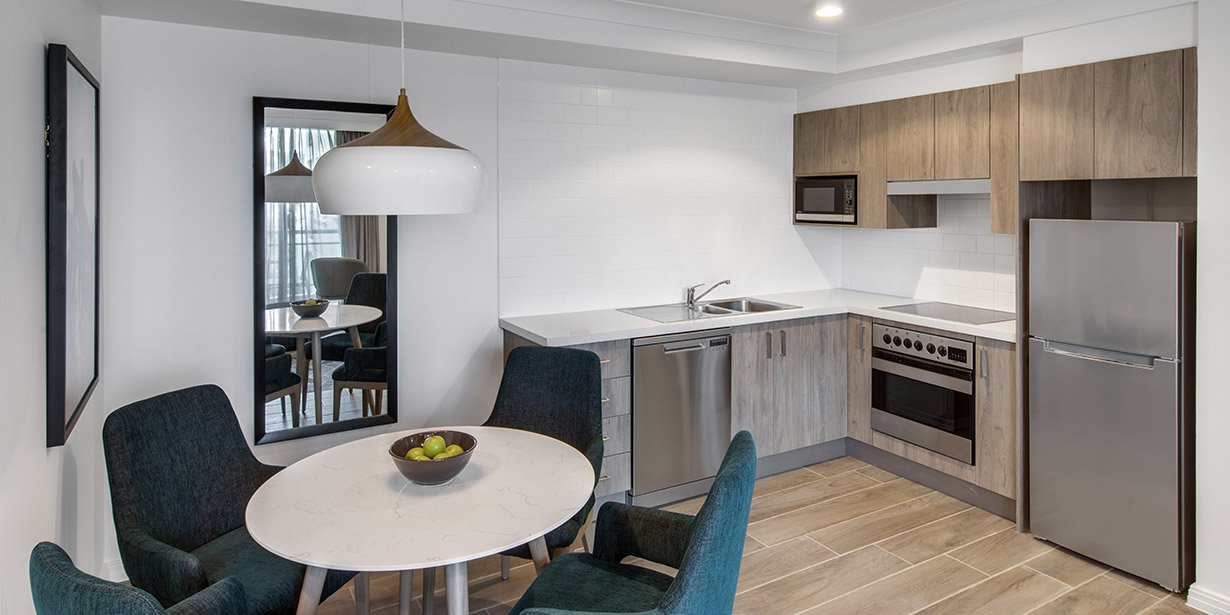Crisp kitchen at Adina Apartment Hotel Coogee - Citybase Apartments