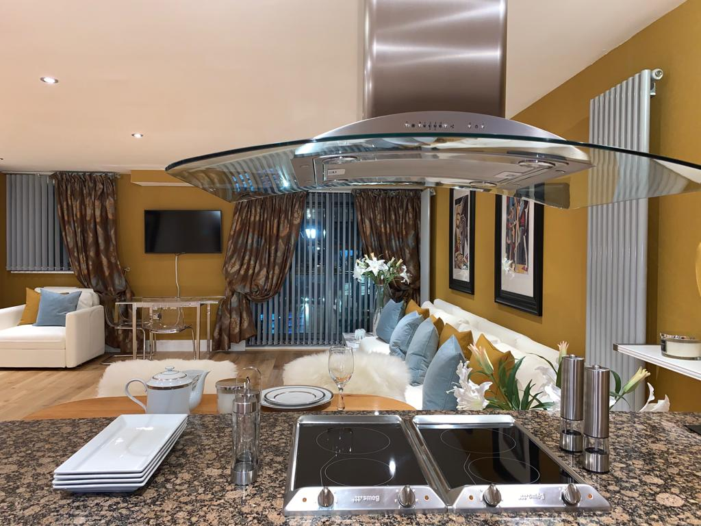 Kitchen at Millharbour Apartment, Canary Wharf, London - Citybase Apartments