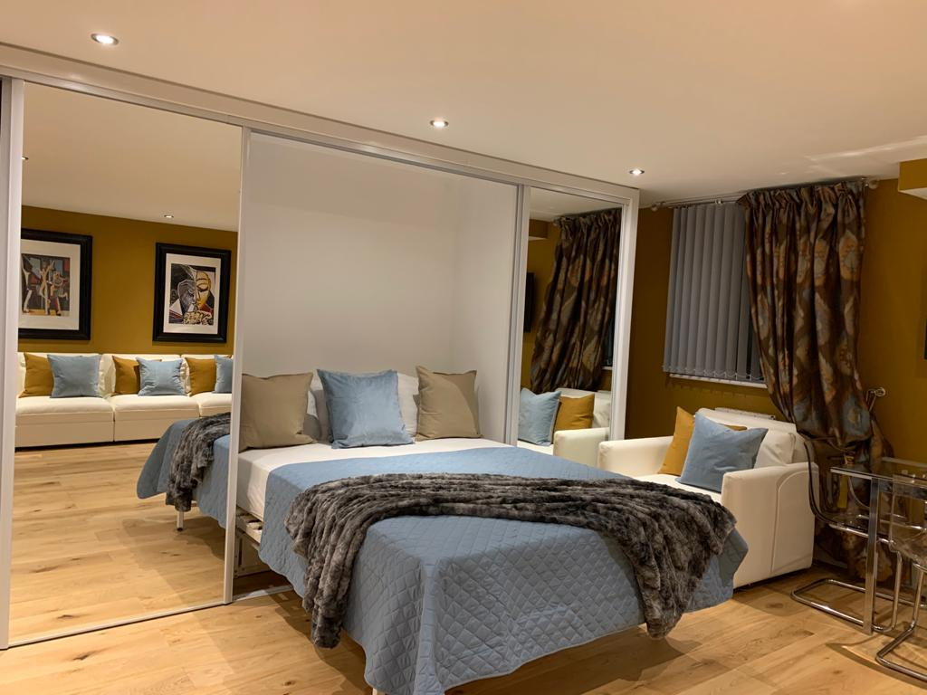 Bed at Millharbour Apartment, Canary Wharf, London - Citybase Apartments