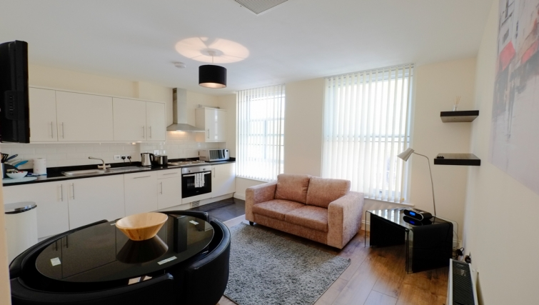 Open plan living area in Hanbury Street Apartments - Citybase Apartments