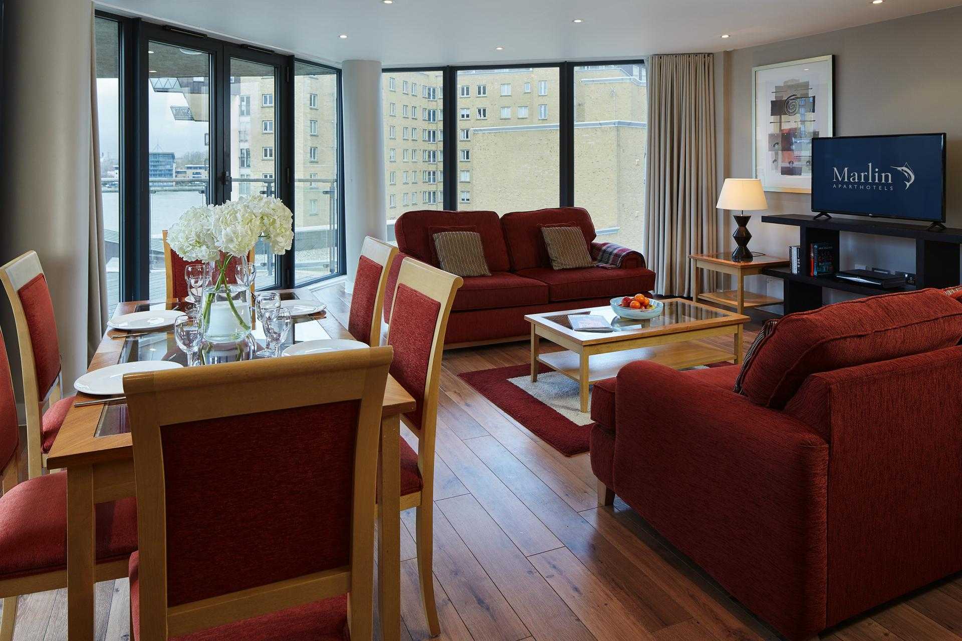 Sofas at Marlin Canary Wharf Apartments, Canary Wharf, London - Citybase Apartments