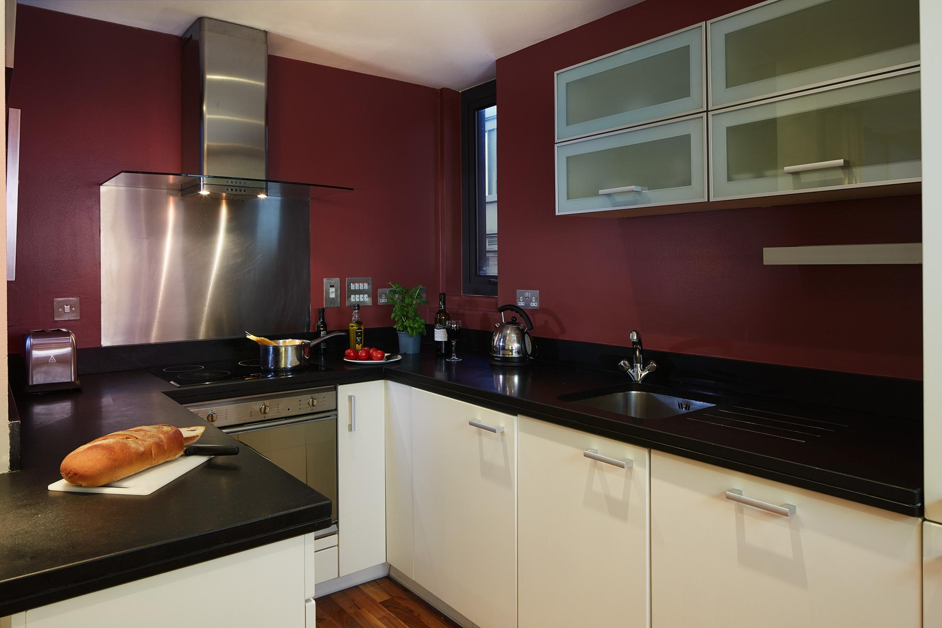 Modern kitchen at Marlin Canary Wharf Apartments, Canary Wharf, London - Citybase Apartments