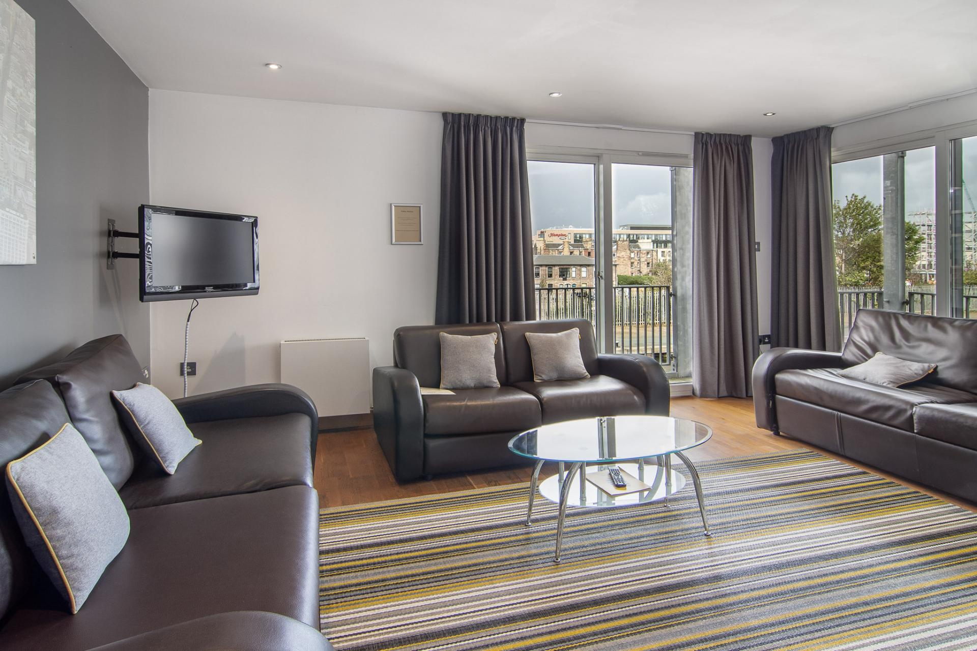Sofa at Staycity Edinburgh Leamington Wharf, Haymarket, Edinburgh - Citybase Apartments
