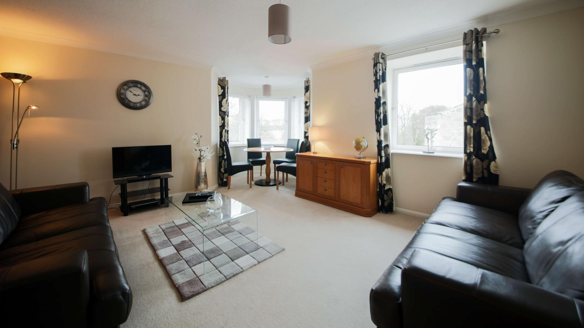 Spacious living room at The Spires Aberdeen - Citybase Apartments