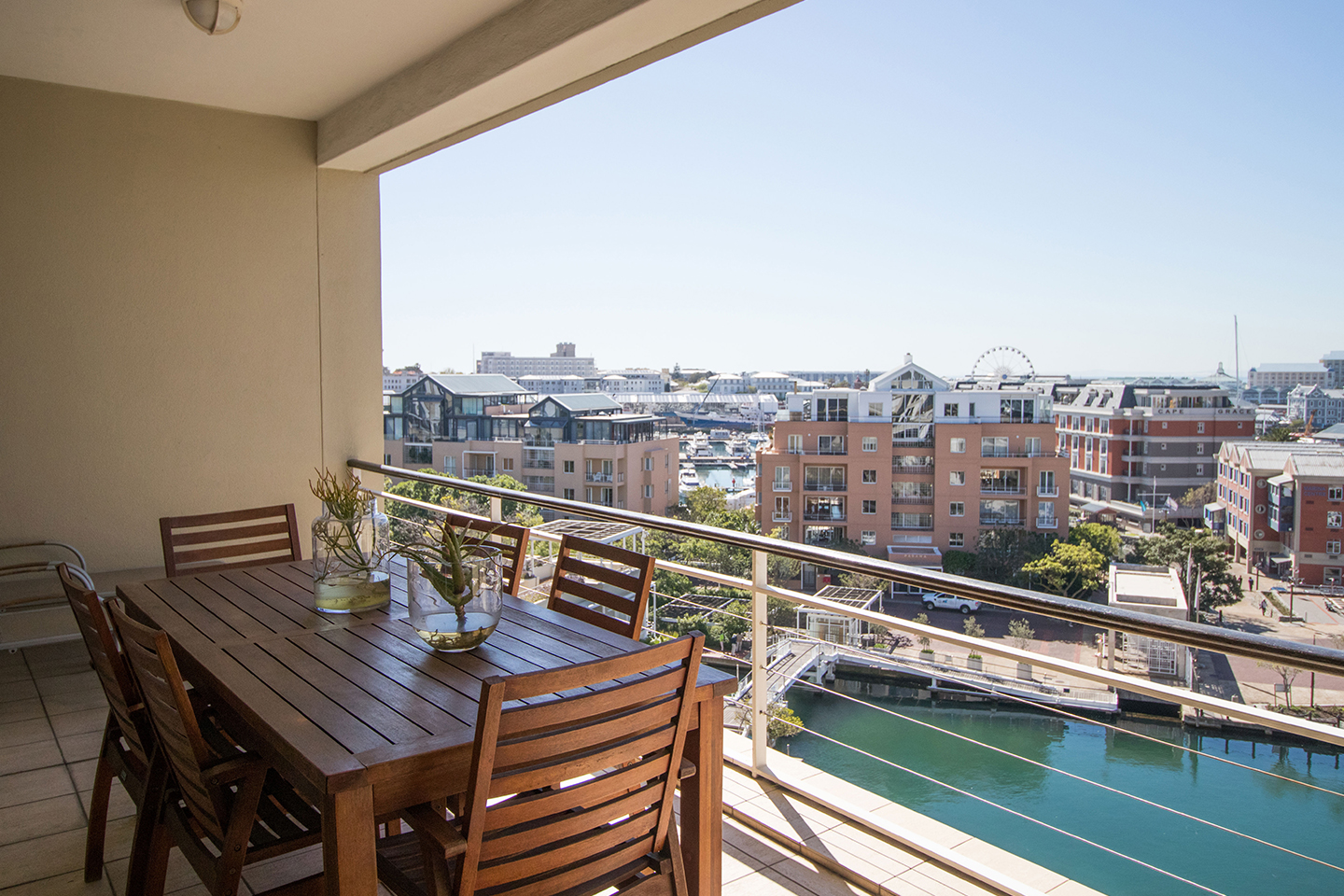Balcony table at Waterfront Village, Waterfront, Cape Town - Citybase Apartments