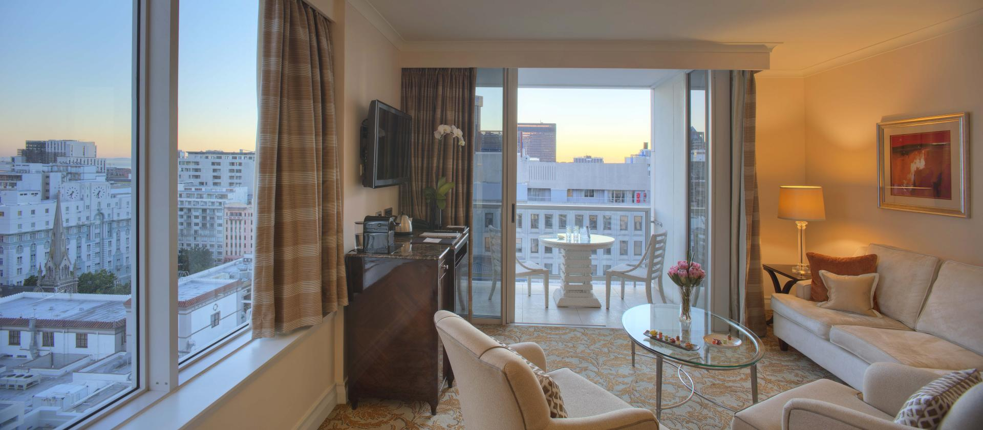 Lounge and Balcony at Taj Cape Town, Centre, Cape Town - Citybase Apartments