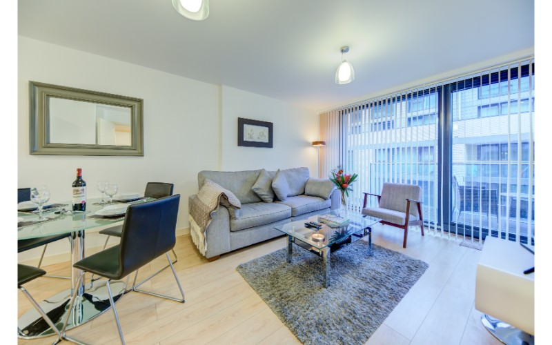 Open-plan living area at Finzels Reach Apartments - Citybase Apartments