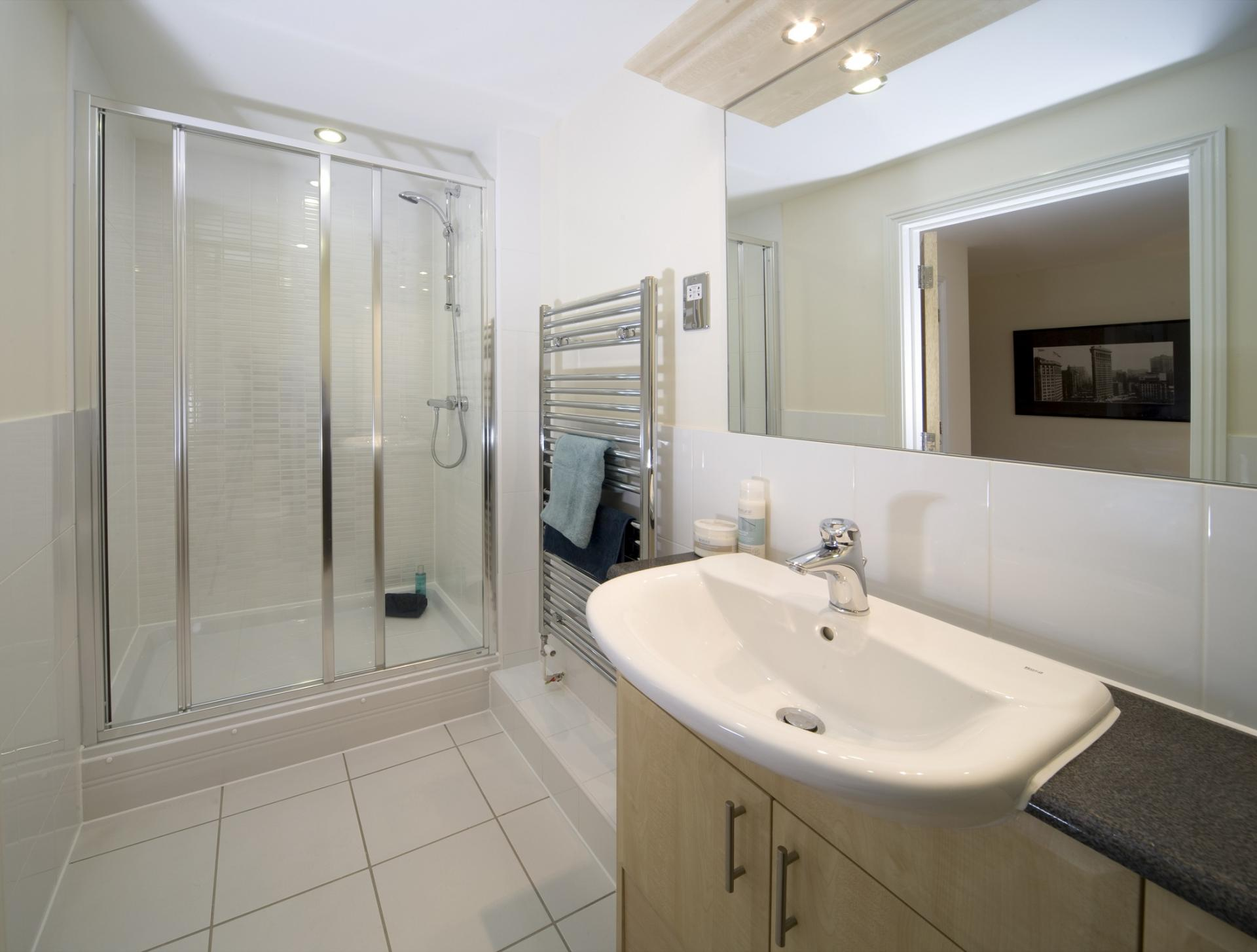 Shower at Cliddesden Place Apartments - Citybase Apartments