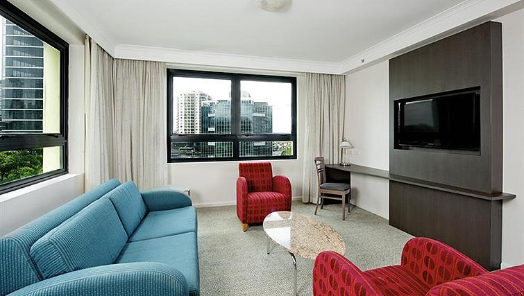 Colourful living area at Mantra Parramatta - Citybase Apartments