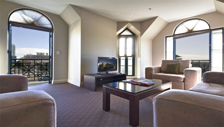 Scenic living area at Mantra on Frome - Citybase Apartments
