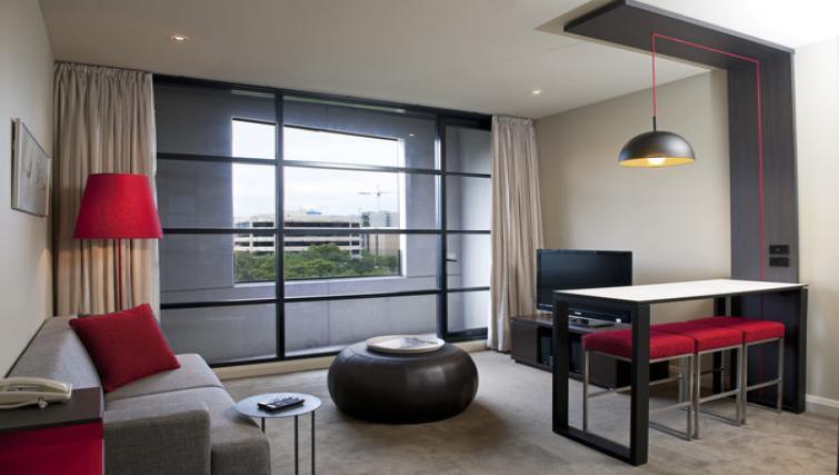 Living room at Mantra Hindmarsh Square - Citybase Apartments