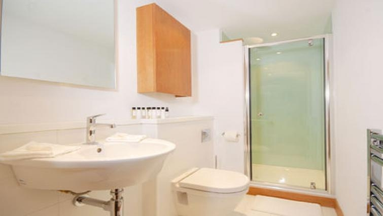Sophisticated bathroom in Turnmill Street Apartment - Citybase Apartments