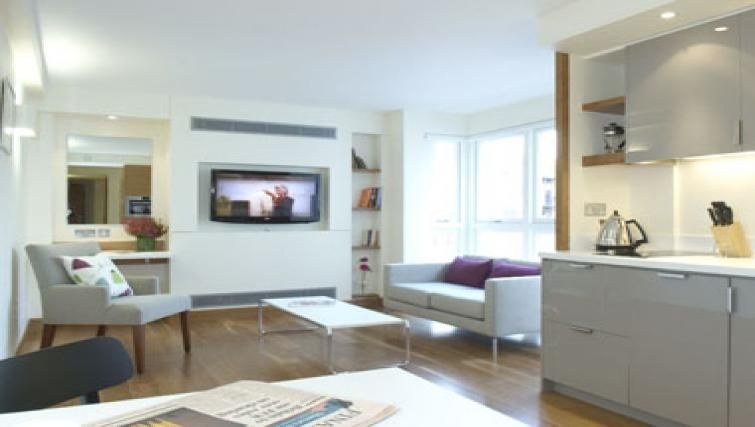 Modern living area in Turnmill Street Apartment - Citybase Apartments