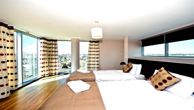 Scenic bedroom in Staycity Dublin Millennium Walk - Citybase Apartments