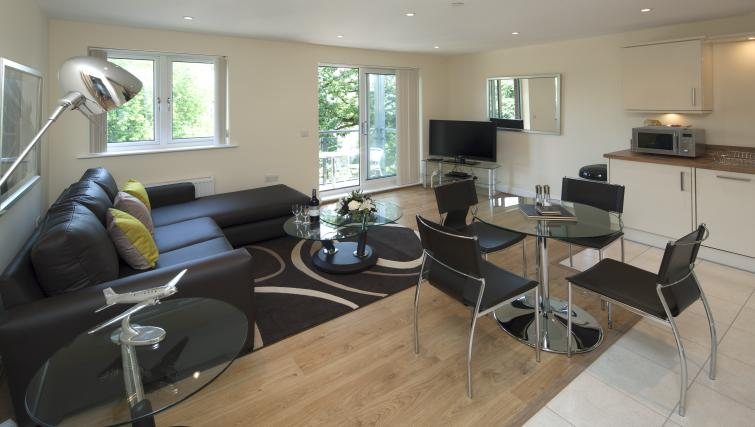Spacious living area at Equinox Place - Citybase Apartments