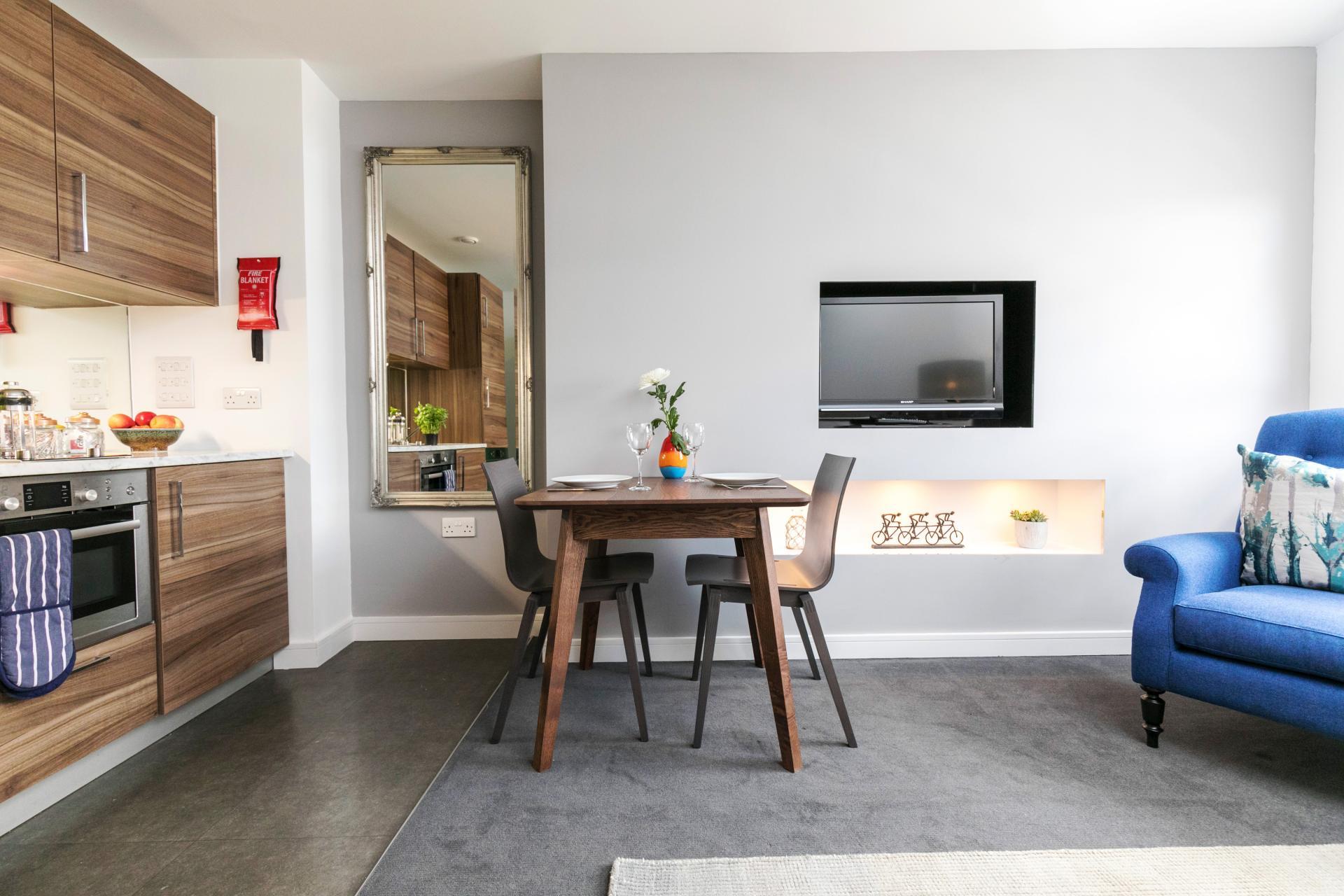 Kitchen diner at Native Hyde Park Apartments, Hyde Park, London - Citybase Apartments