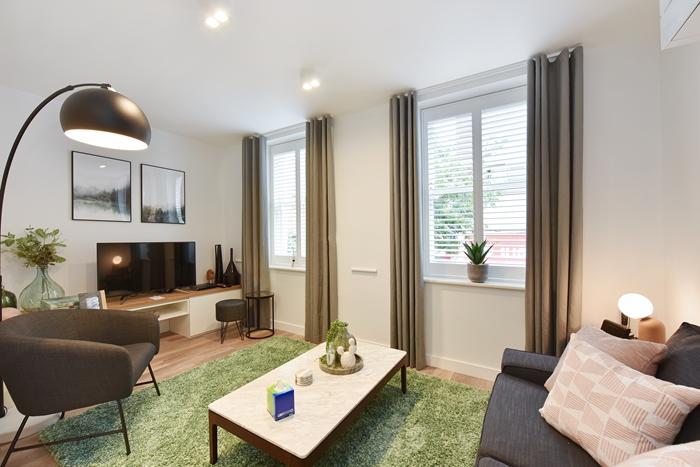 Stylish living room at 42 James Street Apartments, Marylebone, London - Citybase Apartments