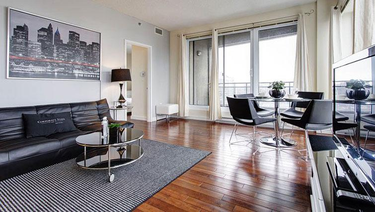 Gorgeous living area in Le 400 Sherbrooke Ouest Apartments - Citybase Apartments