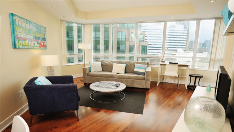 Stylish living area in 20 Blue Jays Way - Citybase Apartments