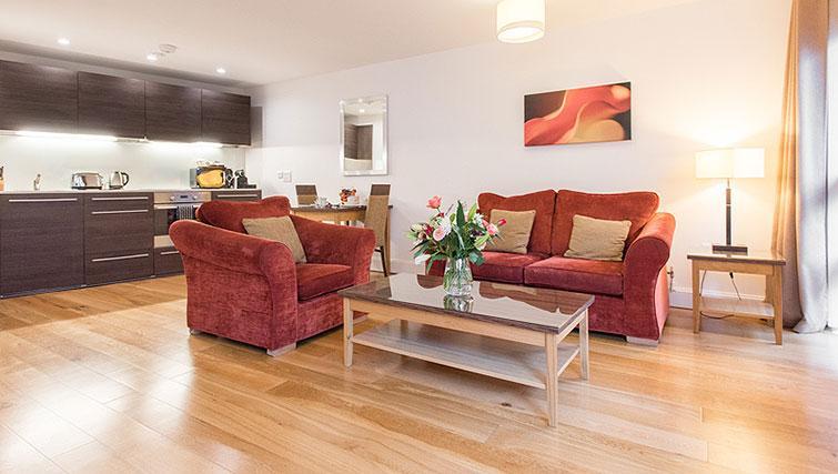 Living area at Premier Suites Plus Cabot Circus - Citybase Apartments