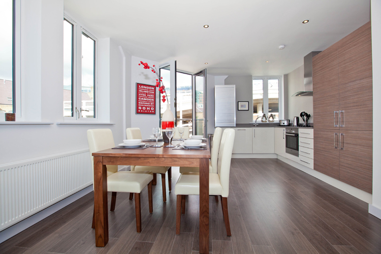 Dining area at One Whites Row Apartments, Liverpool Street, London - Citybase Apartments